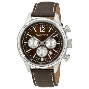 Nautica Brown Dial Chronograph Leather Mens Watch NAD20018G