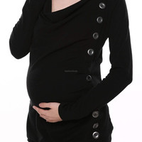 Stylish Maternity Breasted Long Sleeve Cowl Neck Solid Long Blouse