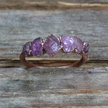 Raw stone engagement ring / Pink tourmaline ring / Alternative engagement ring / Gift for wife / Gift for women / For her