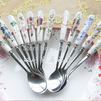 (3pcs/lot) Small Bone China Handle Stainless Steel Coffee/Tea Spoon 156mm Stirring Soup Spoon tableware