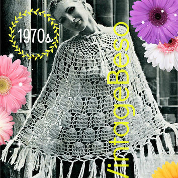 DIGITAL PATTERN •  Poncho Crochet Pattern • PdF Pattern • 1970s Vintage Bell Poncho • Lovely Poncho Tie at Neck with Fringe