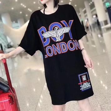 """BOY"" Women Fashion Multicolor Letter Eagle Pattern Print Short Sleeve T-shirt Dress"