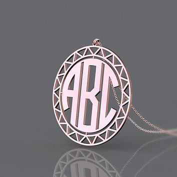 Sunflower rose gold monogram necklace 1.25 inch or 1.5 inch customized gift nameplate necklace