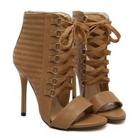 Brown Lace Up Heeled Ankle Sandals