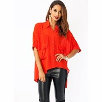Deep Pockets Cuffed High-Low Blouse - GoJane.com