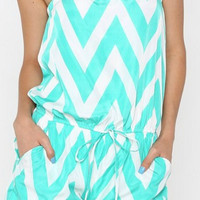 Chevron Romper - Mint