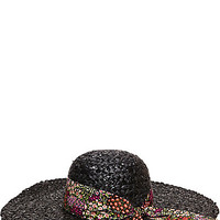 SEQUIN FLOPPY HAT WITH FLORAL BAND BLACK