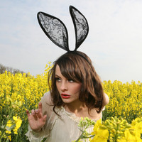 Mad hatter black lace bunny ears headband by talulahblue on Etsy