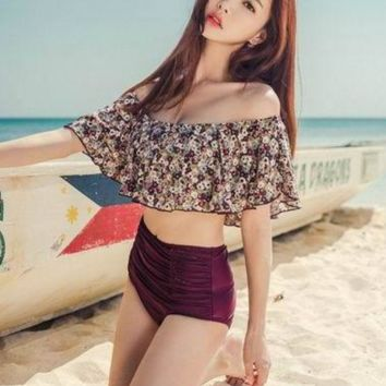 Fashion floral print lotus off shoulder high waist wine red two piece bikini