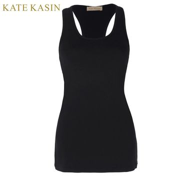 Kate Kasin T-shirt Women Black Racerback Tank Tops Fitness Tunic Sexy Cotton Workout Red Vest Tops Female Sleeveless Basic Tops