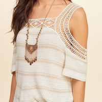 Cold Shoulder Short-Sleeve Sweater