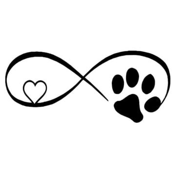 17.8*7.7CM Cat Paw Love Car Window Decorative Sticker Decals Black/Silver