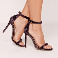 Missguided - Purple Velvet Rounded Strap Barely There Heels