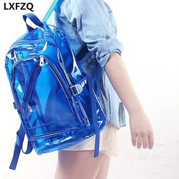 NEW Waterproof Backpack Transparent Clear Plastic for Teenage Girls PVC School Bags Shoulders Bag space backpack notebook