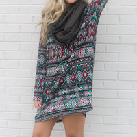 Festive Tribe Black Tribal Print Tunic Dress