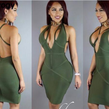 Deavogy 2017 New Arrival Army GREEN Beige Top Quality Deep V-neck Sexy Women Bodycon Vestidos Bandage Dress