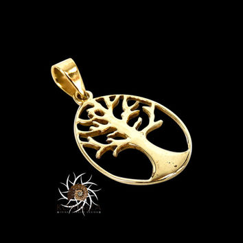 Vermeil Tree Brass Pendant - Tree Jewelry - Brass Jewelry - Tribal Jewelry - Nature Jewelry - Botanical Jewelry