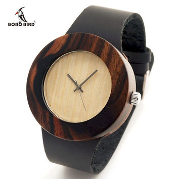 New Natural Black Ebony Wood Watch with Genuine Leader Strap Wooden Wristwatch Retail Box Wood Wristwatch for Men and Women