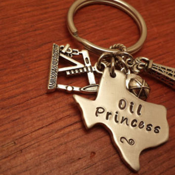"Hand stamped Texas (could use another state) key chain oilfield. ""Oilfield Princess """