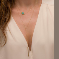 Gem Slice Necklace / Gold Edged Stone on Gold fill Chain / Turquoise Necklace / Simple Gemstone Necklace / Layered and Long LN703
