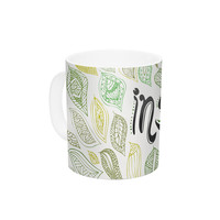 "Pom Graphic Design ""Inspire Nature"" Green Yellow Ceramic Coffee Mug"