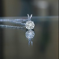 """1 CT, (6mm) round with bail, simulated diamond - Diamond Veneer solitaire pendant set in sterling silver platinum electroplated hanging stationary on a 16"""" fine tiffany style chain"""