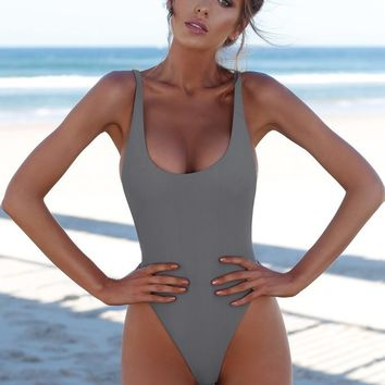 V-Neck Fashion Strap Solid Color One Piece Swimwear Bikini Swimsuit