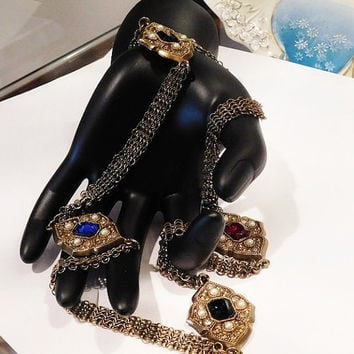 Vintage Whiting and Davis Necklace Rhinestones Faux Pearls Medallions Opera Length Ruby Red Sapphire Blue Emerald Green Black Diamond