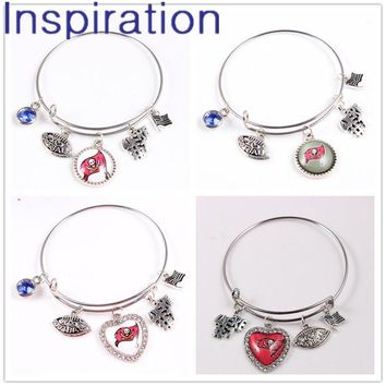 Football Fans Jewelry Tampa Bay Buccaneers Expandable Wire Charm Bangle Bracelet For Woman Man 4 Designs Dangle Charm Bracelets