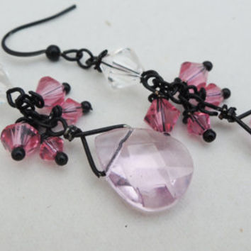 Pink and Black Dangle Cluster Earrings Handmade by Lindsey - Swarovski Crystals - Signature Cluster Earrings - Christmas - Valentine's Day