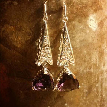 SUMMER SALE 75% Off Amethyst  Earrings Gemstone  .925 Sterling  Silver