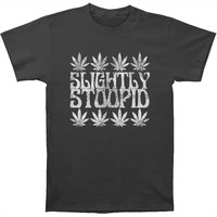 Slightly Stoopid Men's  Rasta Weed Leaves Slim Fit T-shirt Charcoal