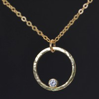 Hammered Solid 14k Gold Circle Birthstone Necklace