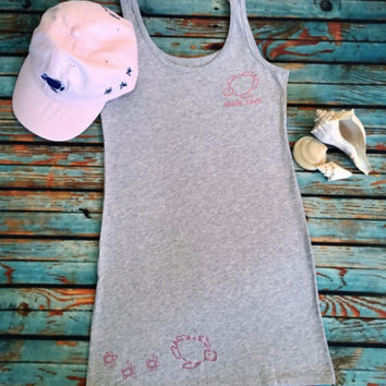 Turtle Joy Beach Cover-Up - Heather Gray with Metallic Pink Turtles