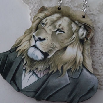 1- Lion in a Suit Necklace Clothed Large Wooden Animal on a Chain Portrait Pendant Silver Chain Necklace