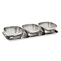 Hammered Tray & 3 Square Bowls