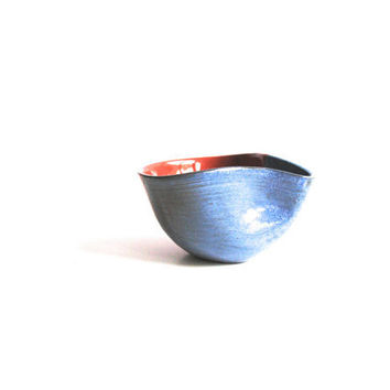 Experimental Blue Wheel Thrown Pottery Coffee Cup Original Ceramics Rust Brown Handmade - ready to ship