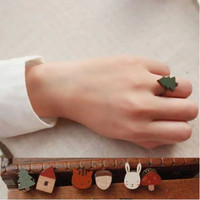 Woodland collection handmade green Christmas tree/red mashroom/white rabbit/brown cat/acorn/little house wooden ring