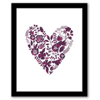 INSTANT DOWNLOAD, Floral Heart, Printable Art, Bedroom Decor, New Home Gift, Bathroom Art, Floral Wall Art, Pink & Dark Purple, Heart Print