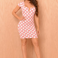 Diamond Bar Dress - Coral