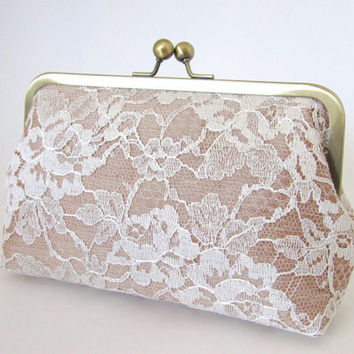 Silk And Chantilly Lace Clutch-Champagne/Ivory-Wedding Clutch-Lace Clutch-Bridal Clutch-Bags And Purses