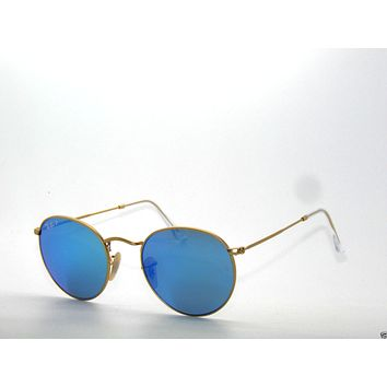RAY BAN SunglaSSeS 3447 Matte Gold/Blue Mirror Polarized 112/4L ROUND Rayban