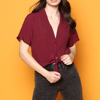 Brenley Tie Front Buttondown Top - Burgundy