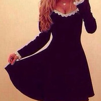 Black Lace Spliced Long Sleeve Skater Dress