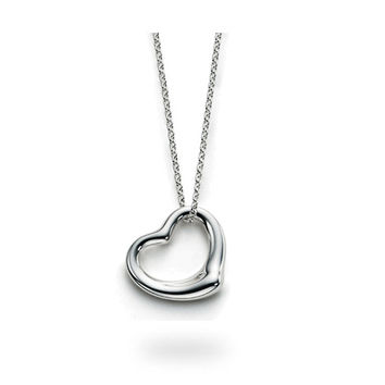 Designer Style Sterling Silver Floating Heart Necklace
