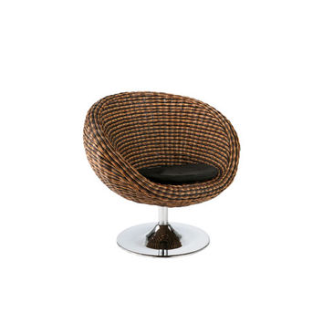 Eurostyle 01119 Oliana Triple Brown Rattan Swivel Chair