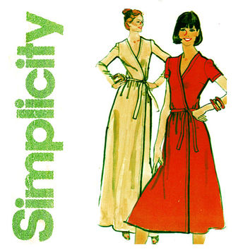1970s Wrap Dress Pattern Uncut Bust 34 Simplicity 8235 Evening Maxi or Day Length Front Wrap Jiffy Dress Womens Vintage Sewing Patterns