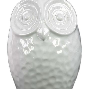 Ceramic Gloss Finish White Round Owl Figurine