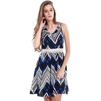 Fashion V Collar Sleeveless High Waist Women Summer Dress Summer Beach Dress