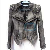 New Womens Punk Spike Studded Shoulder Vintage Denim Jacket Jeans coat